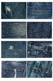 Inzameling van hoogst gedetailleerd van jeans Achtergrond en textuur royalty-vrije stock fotografie