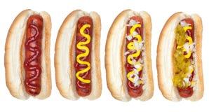 Inzameling van hotdogs Stock Foto's