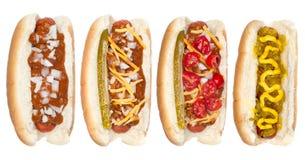 Inzameling van hotdogs stock afbeelding