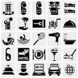 Geplaatste de pictogrammen van het hotel Stock Afbeeldingen