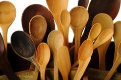 Inzameling van houten keukengerei Stock Foto's