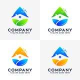 Inzameling van Huis die Logo Design schoonmaken vector illustratie