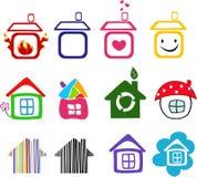 Inzameling van huispictogrammen Stock Afbeelding