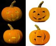 Inzameling van huren geïsoleerdeo Halloween pompoenen stock fotografie