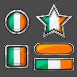 Inzameling van Ierland vlagpictogrammen Royalty-vrije Stock Foto's