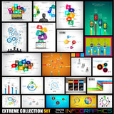 Inzameling van 22 Infographics voor sociale media en wolken
