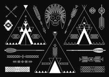 Inzameling van Inheemse Amerikaanse stammen gestileerd Royalty-vrije Stock Afbeelding