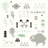 Inzameling van inheemse Amerikaanse symbolen met leuke babybuffels Stock Foto's