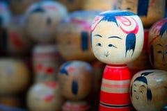 Inzameling van Japanse houten herinneringen royalty-vrije stock foto