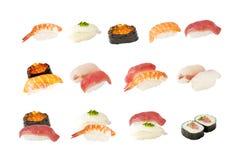 Geïsoleerde. inzameling van Japanse sushi Stock Afbeeldingen