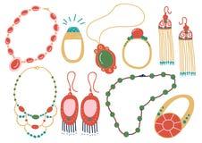 Inzameling van Juwelentoebehoren, Halsband, Oorringen, Tegenhanger, Parels, Ring Vector Illustration vector illustratie