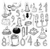 inzameling van kaarsen, kaarsenpictogrammen, getrokken vectorillustratie Royalty-vrije Stock Foto's
