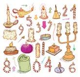 inzameling van kaarsen, kaarsenpictogrammen, getrokken vectorillustratie Stock Foto