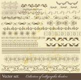 Inzameling van kalligrafische grenzen Stock Afbeeldingen