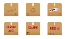 Inzameling van kartondozen Stock Foto's