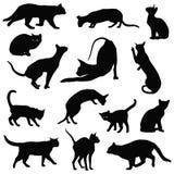 Inzameling van katten de vectorsilhouetten Stock Foto