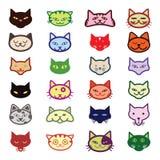 Inzameling van kattenpictogrammen, illustratie Royalty-vrije Stock Afbeeldingen