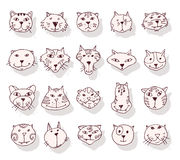 Inzameling van kattenpictogrammen, illustratie Stock Afbeelding