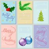 Inzameling van 6 Kerstkaartmalplaatjes Geplaatste Kerstmisaffiches Stock Afbeeldingen