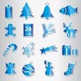 Inzameling van Kerstmis de blauwe glanzende stickers Stock Foto's