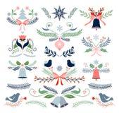 Inzameling van Kerstmis de decoratieve die elementen op wit wordt geïsoleerd stock afbeeldingen
