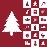 Inzameling van Kerstmis de rode en witte pictogrammen Royalty-vrije Stock Afbeeldingen