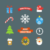 Inzameling van Kerstmis de vectorelementen Stock Fotografie