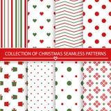 Inzameling van Kerstmis naadloze patronen Stock Afbeeldingen