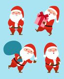 Inzameling van Kerstmis Santa Claus Vector graphhics Stock Foto