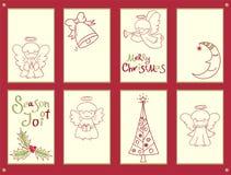 Inzameling van Kerstmisbanners met leuke kleine engelen stock illustratie