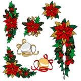 Inzameling van Kerstmisbeelden Kerstmisdecoratie, bloem, ornamenten Royalty-vrije Stock Fotografie