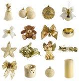 Inzameling van Kerstmisdecoratie stock afbeeldingen