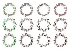 Inzameling van Kerstmiskronen Hand getrokken vector ronde kaders voor uitnodigingen, prentbriefkaaren en meer vector illustratie