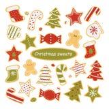 Inzameling van Kerstmissnoepjes op witte achtergrond wordt geïsoleerd die Peperkoek en suikergoed Vector illustratie royalty-vrije illustratie