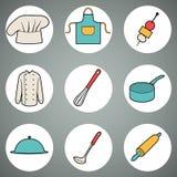 Inzameling van keukenpictogrammen op witte cirkels Royalty-vrije Stock Foto