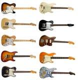 Inzameling van klassieke elektrische gitaren Stock Foto's