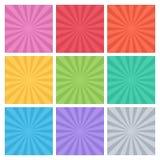 Inzameling van kleuren vectorstralen Reeks van achtergrondstraal Stock Foto
