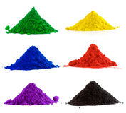 Inzameling van kleurrijk poeder stock afbeeldingen