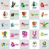 Inzameling van kleurrijke abstracte origamiemblemen Stock Foto