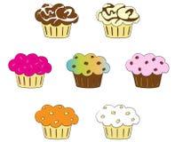 Inzameling van kleurrijke cupcakes Vector Illustratie