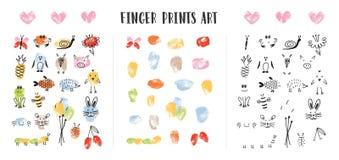 Inzameling van kleurrijke die vingerafdrukken door aanbiddelijke dierlijke die s-gezichten worden verfraaid op witte achtergrond  vector illustratie