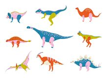 Inzameling van Kleurrijke Dinosaurussen, Brontosaurus, Tyrannosaurus, Ankylosaurus, Tsintaosaurus, Pterodactylus, Parasaurolophus stock illustratie