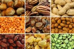 Inzameling van kleurrijke droge zaden en noten Stock Afbeelding