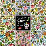 Inzameling van kleurrijke eindeloze patronen met monsters, stock illustratie