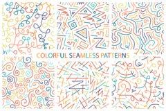 Inzameling van kleurrijke hand getrokken naadloze patronen Royalty-vrije Stock Fotografie