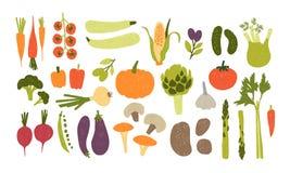 Inzameling van kleurrijke hand getrokken verse heerlijke die groenten op witte achtergrond wordt geïsoleerd Bundel van gezond en  royalty-vrije illustratie