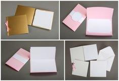 Inzameling van kleurrijke kaarten en enveloppen over grijze achtergrond Royalty-vrije Stock Foto's