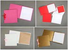Inzameling van kleurrijke kaarten en enveloppen over grijze achtergrond Stock Fotografie