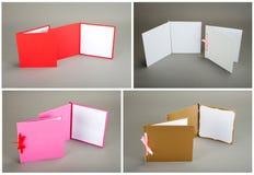 Inzameling van kleurrijke kaarten over grijze achtergrond Stock Foto
