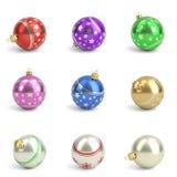 Inzameling van kleurrijke Kerstmisballen Geïsoleerd wit 3d geef terug Stock Afbeeldingen
